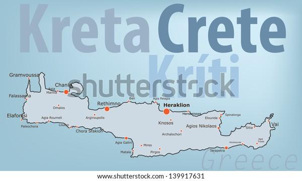 Crete Greece Map Mediterranean Island Crete Signs Symbols