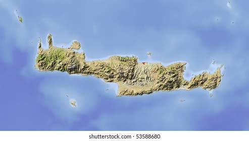 Crete. Shaded relief map. Colored according to vegetation. Includes clip path for the land area.