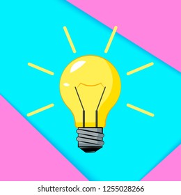 Cretive idea. Bisiness solution concept. Burning light bulb with surreal color background. Vector illustration