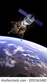 Crew Exploration Vehicle Orbiting Earth. 3D Illustration.