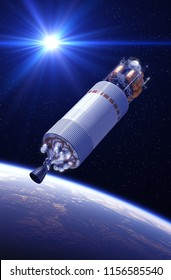 Crew Exploration Vehicle In The Rays Of Light. 3D Illustration.