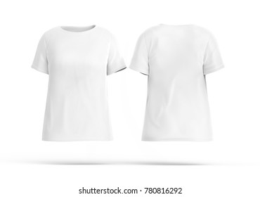 Crew neck shirt mockup set, blank white cloth template for women with invisible model on white background, 3d render