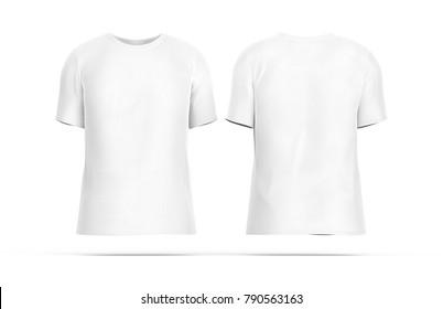 two white tshirt isolated on whiteの写真素材 ロイヤリティフリー