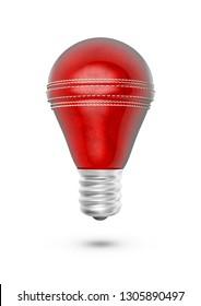 Cricket ball light bulb / 3D illustration of light bulb shaped cricket ball isolated on white background