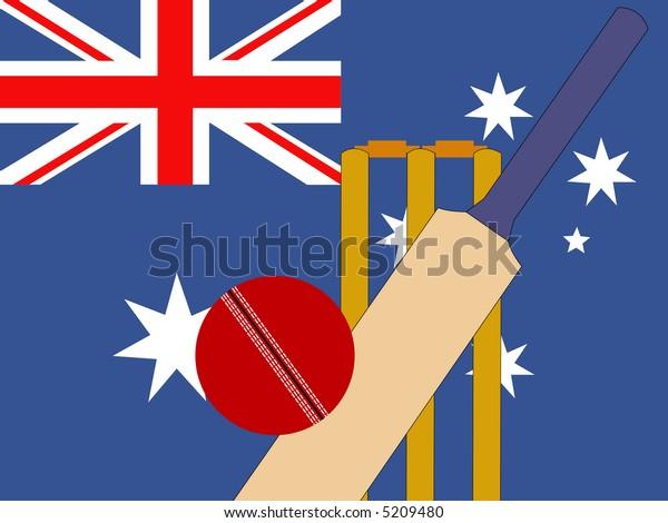 cricket bat and stumps with australian Flag JPG