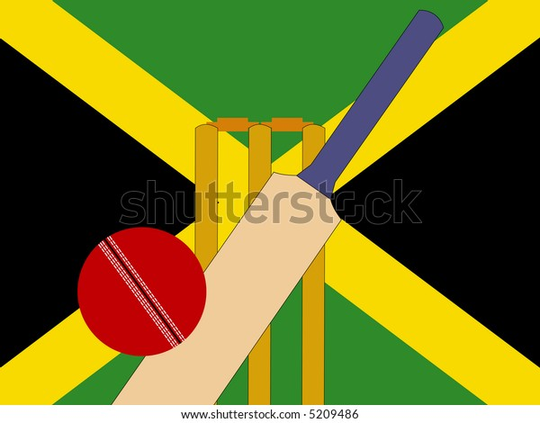cricket bat and stumps with Jamaica Flag JPG