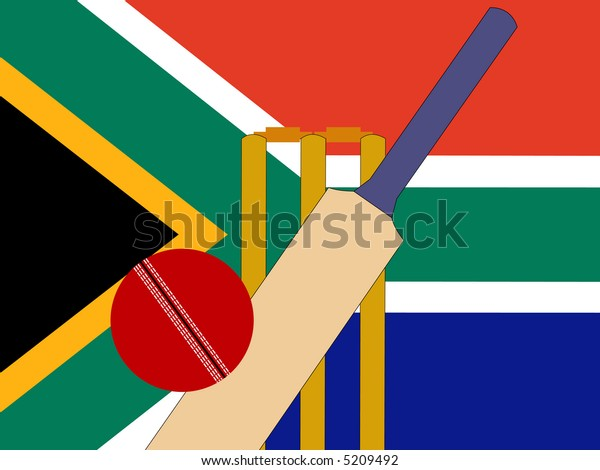 cricket bat and stumps with South African Flag JPG