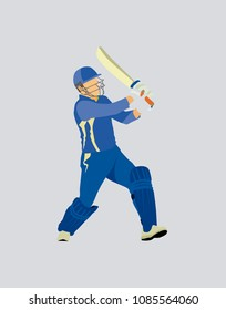 Cricket batsman illustration