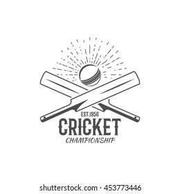 Cricket emblem and design elements. championship logo . stamp. Sports fun symbols with equipment - bats, ball. For web , tee or print on t-shirt. Monochrome