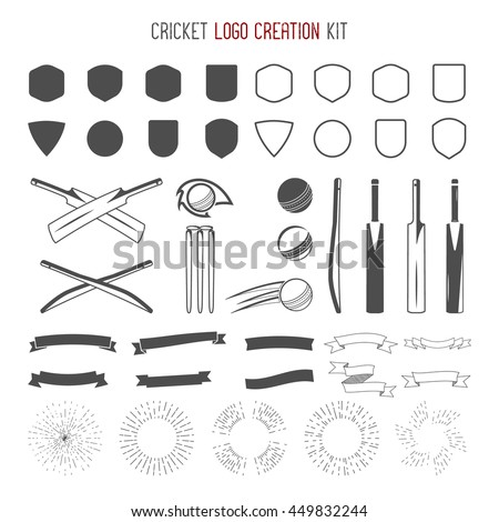 Cricket Logo Creation Kit Sports Logo Stock Illustration 449832244