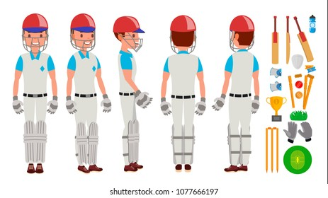 Cricket Player. In Action. Cricket Team Character. Poses. Flat Cartoon Illustration
