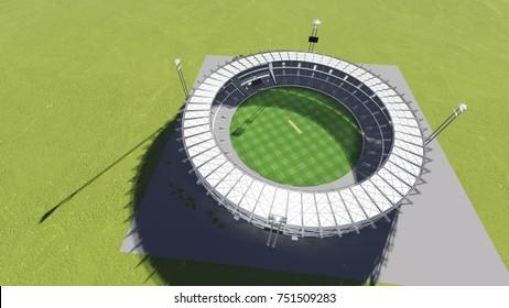 Cricket Stadium 3D Illustration - Day View