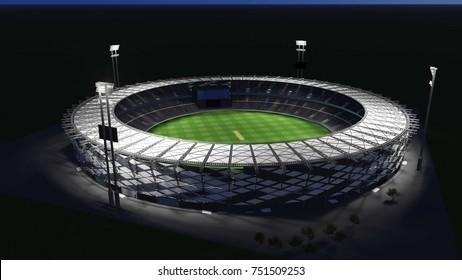 Cricket Stadium 3D Illustration - Night view