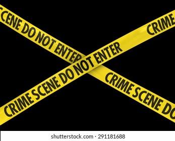 Crime Scene Do Not Enter Tape Cross on Black Background