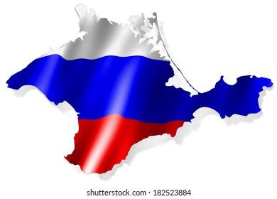 Crimea peninsula colorized in colors of Russian flag