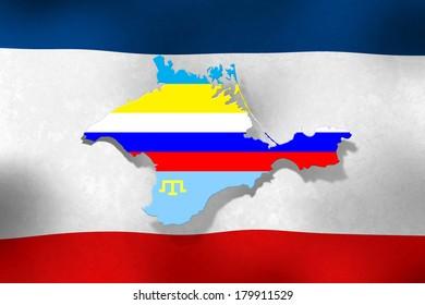 Crimea peninsula colorized in colors of three flags - Ukraine, Russia  and Tatar - over crimean flag