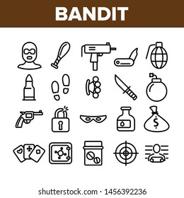 Criminal Acts, Bandit Thin Line Icons Set. Bandit Crimes Linear Illustrations Collection. Theft, Abuse, Murder, Burglary Contour Symbols. Terrorism, Gambling, Smuggling Crimes Outline Drawings