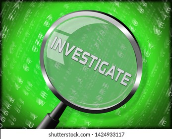 Criminal Investigation Definition Showing Crime Detection Of Legal Offense 3d Illustration. Analyzing Evidence Of Fraud Or Murder