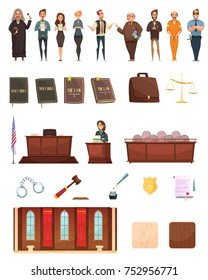 Criminal justice retro cartoon icons collection with law books jury box judge and courtroom isolated  illustration