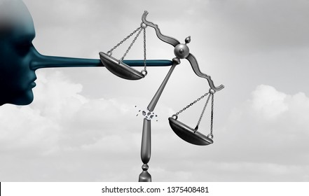 Criminal politicians and corrupt politics concept as a political lier with a long lying nose as government corruption and dishonesty metaphor and comitting perjury with 3D illustration elements.
