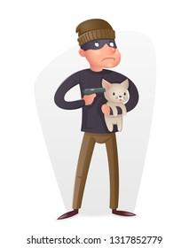 Criminal Thief Gun Hostage Character Crime threat Buyout Request Icon Retro Cartoon  Design Illustration
