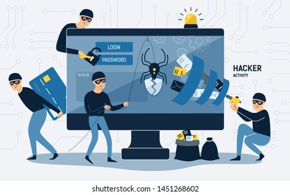 Criminals, burglars or crackers wearing black hats, masks and clothes stealing personal information from computer. Concept of hacker internet activity or security hacking. Cartoon illustration.