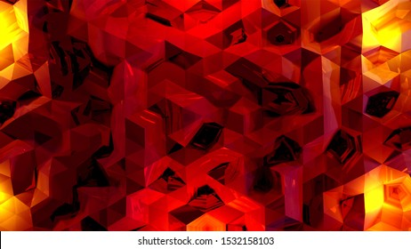 Crimson colors. Low poly pattern. Red background image. Triangular shapes. Crystalline surface. Mosaic. Diamond cut. Wall. Ruby. Concave. Sharp edges. Folds. 3D rendering.