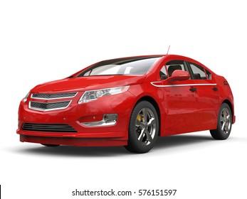 Crimson modern electric car - studio shot - 3D Render