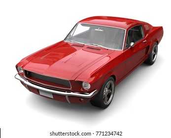 Crimson red American vintage muscle car - 3D Illustration
