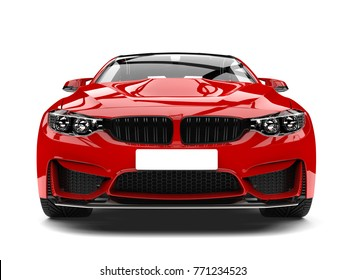 Crimson red modern sport racing car - front view closeup shot - 3D Illustration