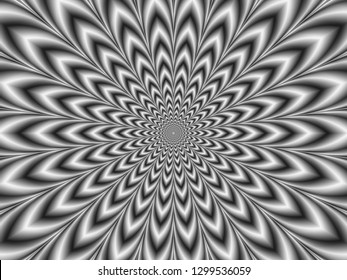 Crinkle Cut Pulse in Black and White / A digital abstract fractal image with an hypnotic optically challenging monochrome design in black and white.