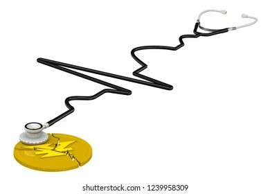 The crisis of the Chinese economy. Cracked coin with the symbol of the Chinese currency (yuan) and the phonendoscope. Financial concept. Isolated. 3D Illustration