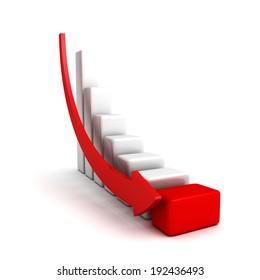 crisis finance bar graph with falling down arrow. business concept 3d render illustration
