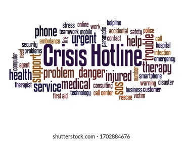 Crisis hotline word cloud concept on white background.