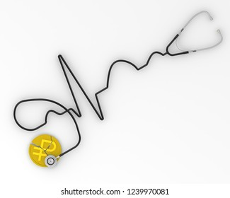 The crisis of the Russian economy. Cracked coin with the symbol of the Russian currency (ruble) and the phonendoscope. Financial concept. Isolated. 3D Illustration