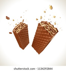 crispy chocolate covered wafer cookie, design element for Food product with Clipping path, 3d illustration.