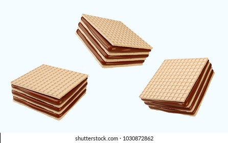 Crispy chocolate wafer flavor, biscuits with Clipping path 3d illustration.