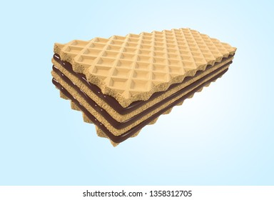 Crispy wafer, chocolate cream flavor, with Clipping path 3d illustration,Minimal style.