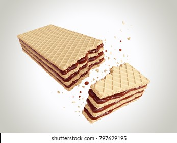 Crispy wafer, chocolate cream flavor, with Clipping path 3d illustration.