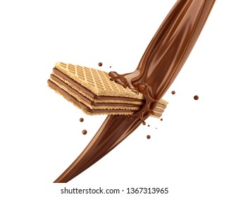 Crispy wafer, with chocolate milk splash, with Clipping path 3d illustration.