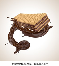 Crispy wafer with chocolate Splash flavor, include Clipping path 3d illustration.