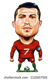 Cristiano Ronaldo Portuguese professional footballer. Illustration,Caricature,Design,July,12,2018