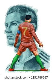 Cristiano Ronaldo is a Portuguese professional footballer who plays as a forward for Serie A club Juventus and the Portugal national team. Illustration,Caricature,Design,August,08,2018