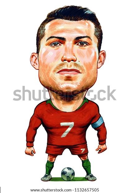 Cristiano Ronaldo Portuguese Professional Footballer Illustrationcaricaturedesignjuly122018 Stock Illustration 1132657505