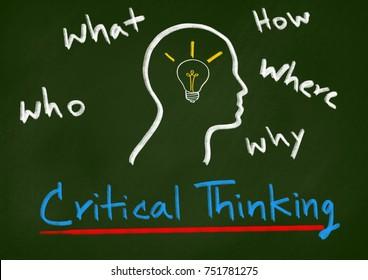 Critical thinking concept,Chalk drawing lamp idea in human head on school blackboard