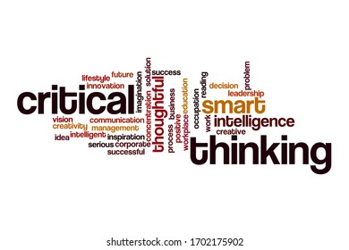 Critical thinking word cloud concept on white background