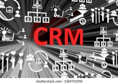 CRM concept blurred background 3d render illustration