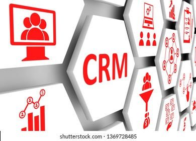 CRM concept cell background 3d illustration