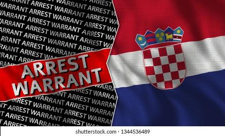 Croatia and Arrest Warrant Titles Flag Together - 3D illustration Fabric Texture