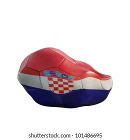 croatia deflated soccer ball isolated on white